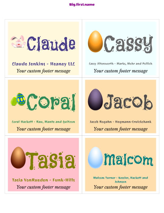 nametag name badge design Happy Easter Celebration
