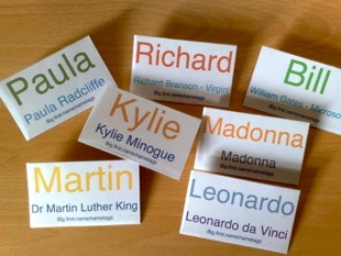 Example name badges